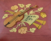 Wine red violin inlay music box