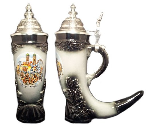 Oktoberfest German Black Beer Horn Stein