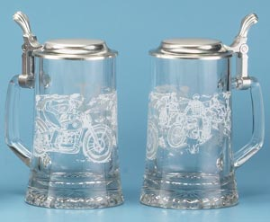 GLASS MOTORCYCLE STEIN