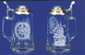 GLASS NAUTICAL STEIN