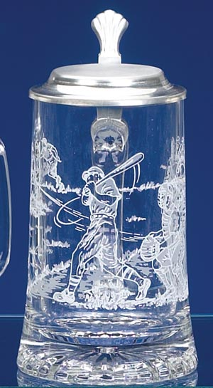 GLASS BASEBALL STEIN
