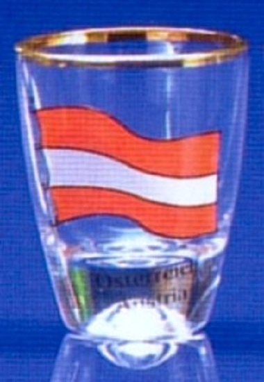 Austria Flag Shot Glass with Gold Rim  4 Piece Gift Box