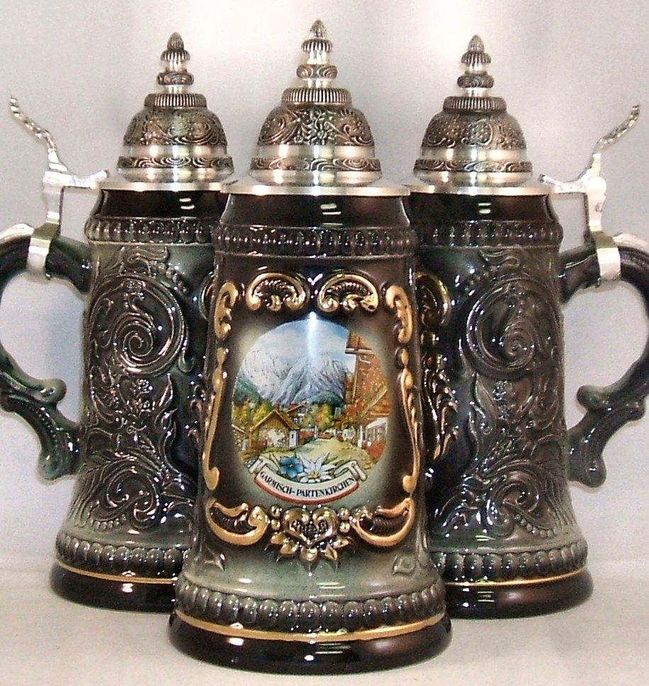 black garmisch germany shield german beer stein 5l authentic beer steins from germany. Black Bedroom Furniture Sets. Home Design Ideas