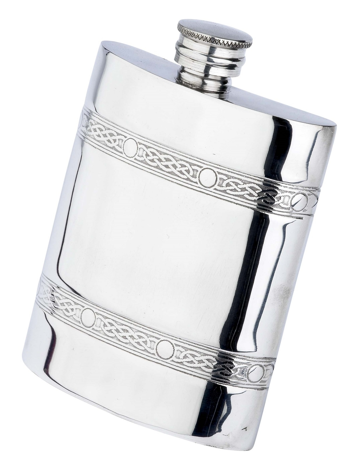 Double Celtic Band Oblong English Pewter Hip Flask