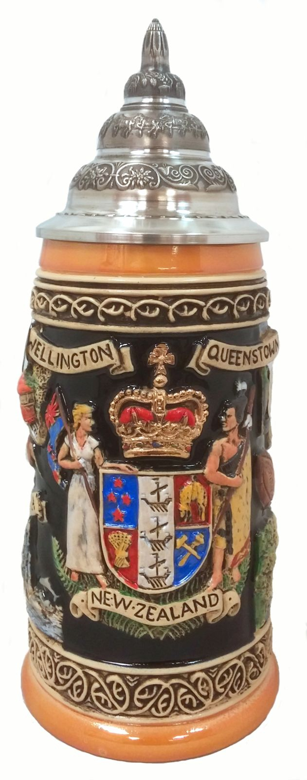 New Zealand Coat of Arms and Landmarks LE German Beer Stein .5 L