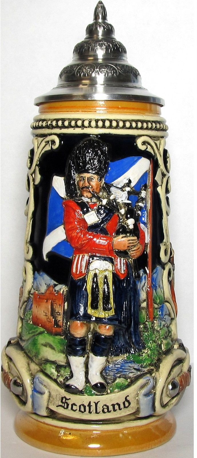 Scotland with Scottish Bagpiper LE German Beer Stein .5 L
