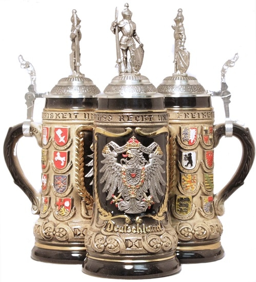 German State Crest Beer Stein 5l With Pewter Knight Lid Authentic Beer Steins From Germany