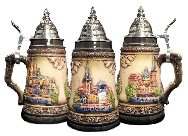 Dusseldorf Cologne And Aachen German Beer Stein 25l Authentic Beer Steins From Germany