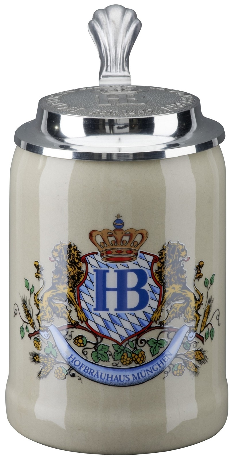 hofbrauhaus munchen munich lion crest stoneware german beer stein 5 l german beer mugs boots. Black Bedroom Furniture Sets. Home Design Ideas