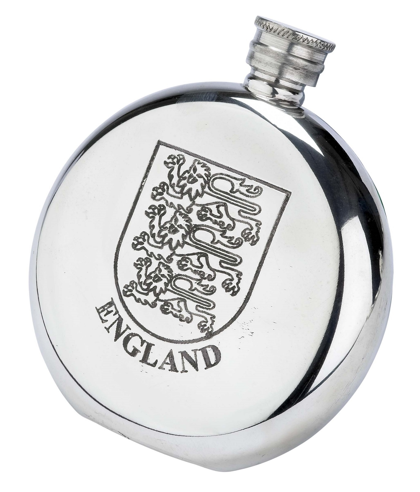 Royal Arms of England Crest Fine English Pewter Flask