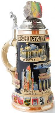Berlin Wall with Landmarks LE Relief German Beer Stein .75L