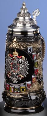 Deutschland Germany Colorful Eagle with State Crests LE German Beer Stein .6 L