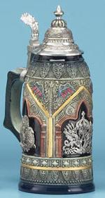 ANTIQUE THEWALT 3 SHIELD STEIN