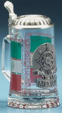GLASS MEXICO BEER STEIN
