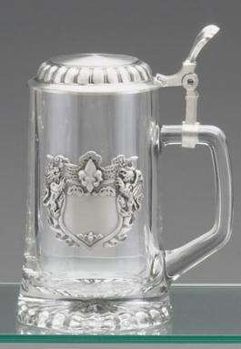 GLASS STEIN W/ LION CREST BADGE