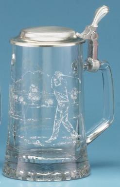 GLASS GOLFER STEIN