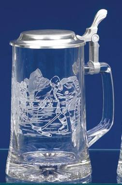 GLASS HOCKEY STEIN
