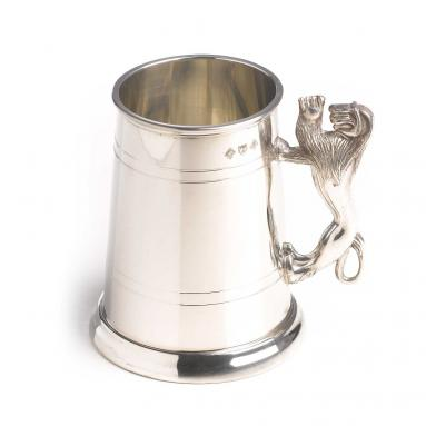 PEWTER LION HANDLE TANKARD