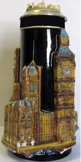 3D London England Landmarks with Windsor Castle Lid LE German Beer Stein 1.2 L