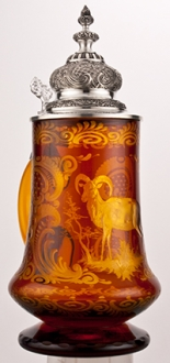 Amber Cut Glass Ram Stein
