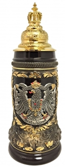Black Deutschland Eagle with Gold Pewter Crown Lid LE German Beer Stein .5 L
