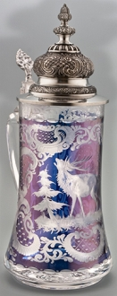 Blue Elk Cut Glass Stein