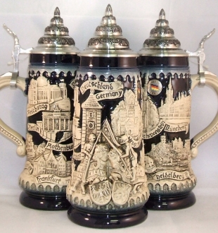 Blue Deutschland Germany Knights Relief LE German Beer Stein .5 L