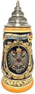 Deutschland Germany with Pewter Eagle and Cities LE Relief German Beer Stein 1 L