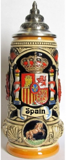 Spain Coat of Arms with Spanish Matador and Dancers LE German Beer Stein .5 L