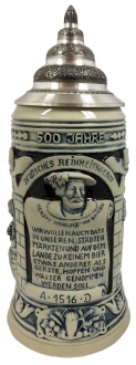 500 Years of Germany Beer Purity Law Celebration Grey LE German Beer Stein 1 L