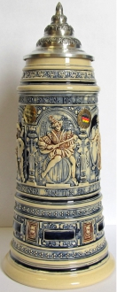 Old Style Drinking Scenes LE German Beer Stein 1 L