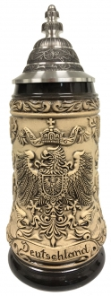 Deutschland Germany Eagle and State Crests Natural Rustic German Beer Stein .5 L