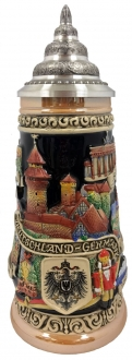 Deutschland Germany Painted City Landscapes LE German Beer Stein .5 L Pewter Lid