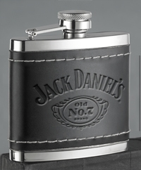 *JACK DANIEL'S STAINLESS STEEL LEATHER COVER FLASK