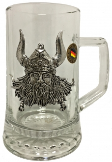 Pewter Viking Wearing Helmet Decal German Glass Beer Stein Mug .4 Liter