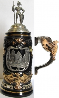 Rothenburg with Pewter Knight Lid and Eagle Handle LE German Beer Stein .6 L