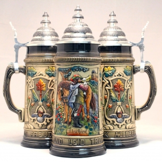 Rustic Abschied Farewell Trumpeter with Horse German Beer Stein 1 L