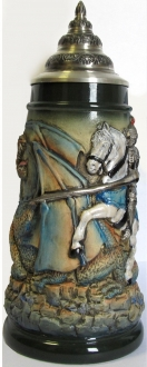 Rustic Medieval Knight on Horseback Fighting a Dragon LE German Beer Stein .5 L