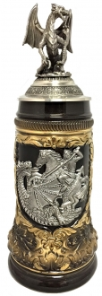 St. George the Dragon Slayer with Pewter Dragon Lid LE German Beer Stein .5 L