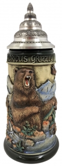 Grizzly Bear Fishing For Salmon Rustic Relief LE German Beer Stein .75 L Germany