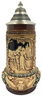 Loving Wedding Couple with Angels LE Relief German Beer Stein .5 L Made Germany