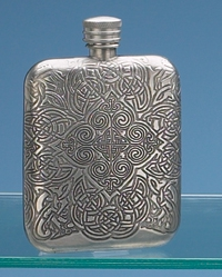 PEWTER CORVELLANA CELTIC FLASK