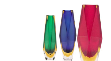 Diamond Cut Polished Sommerso Vases