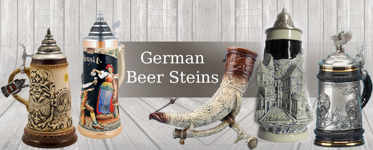Beer Steins offers exclusive collection of authentic German Beer Steins, Beer Mugs and Glassware: traditional beer steins, figural beer steins, beer glasses.
