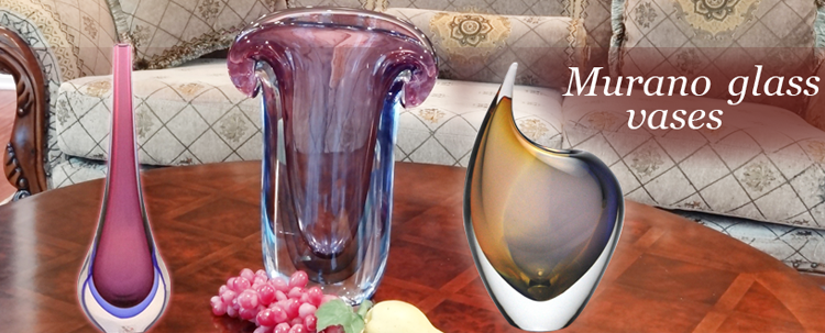 Murano Glass Arts Vases. Authentic Murano & Venetian Art Glass: vases, jewelry, birds, animals, sculptures, world art glass.