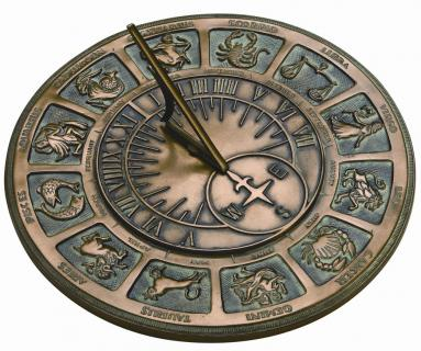 Bronze Zodiac Sundial (antique cold cast bronze)