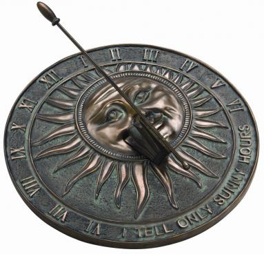 Bronze Sunburst  Sundial (antique cold cast bronze)