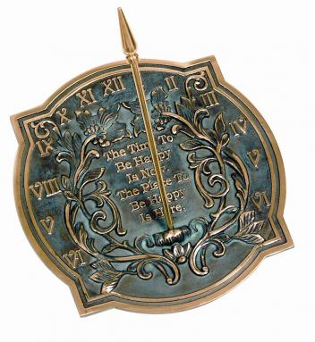 Brass Happiness Sundial (Solid Brass w/Verdigris Highlights)