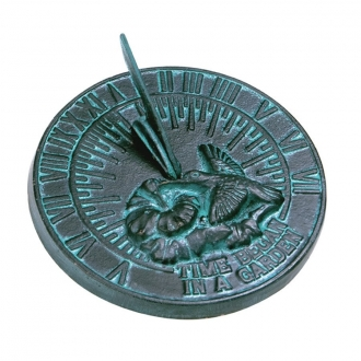 Cast Iron Hummingbird Sundial (Cast Iron w/Verdigris Finish)