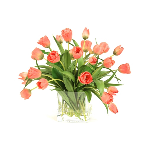 Silk Coral Tulips in a Glass Square Vase